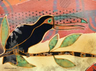 Collage - Paper and paint by Sharon Mann, guest artist at Louise's ARTiculations