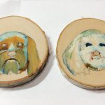 initial pet portrait sketches on birch slices