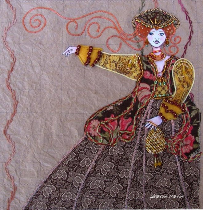 Paper and fabric/bead illustration by Sharon Mann, guest artist at Louise's ARTiculations