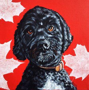 custom pet portrait of Nala, service dog for war vet.