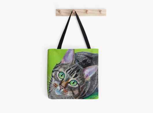pet portrait (Kiwi) by Louise's ARTiculations printed on tote bag