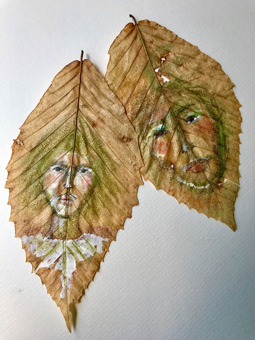Painted leaves by Carol Covert