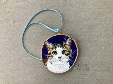 Peanut - Cat Portrait on Wood Slice