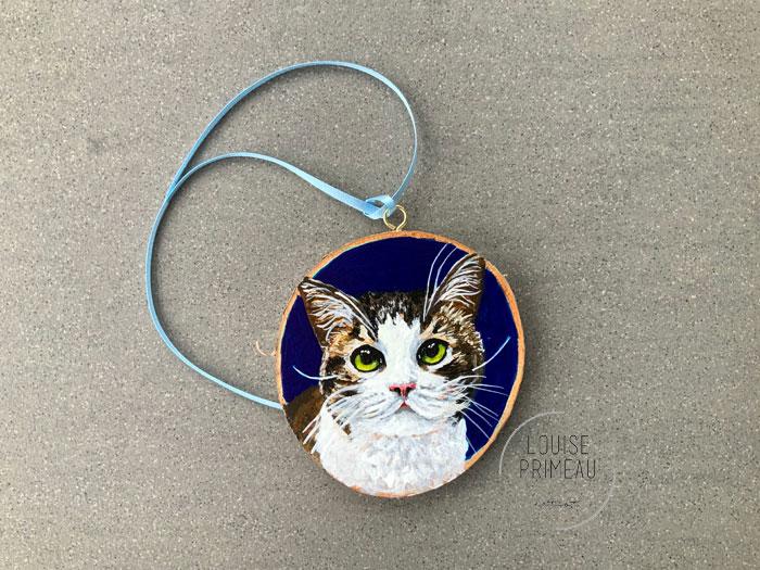 Peanut - Cat Portrait on Wood Slice