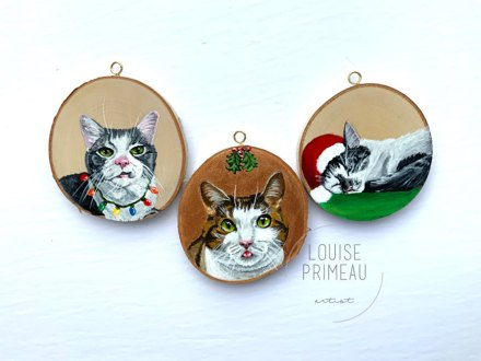 three amigos cat ornaments