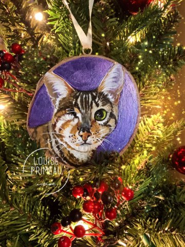 Snickers Christmas - painted ornament by Louise Primeau