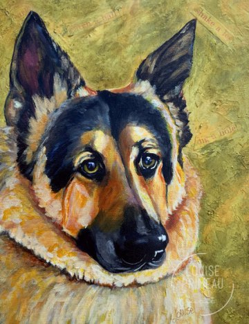Hunter, German Shepherd memorial portrait by Louise Primeau