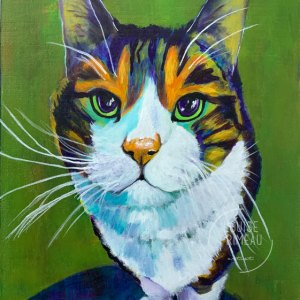 Tigger, colourful pet portrait by Louise Primeau