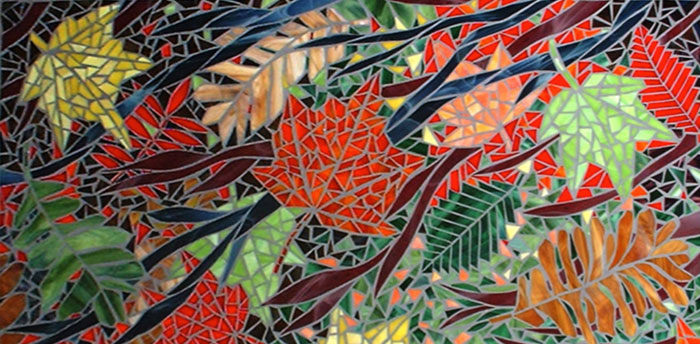 """""""Leaves"""", glass mosaic by Bebe Keith, guest artist at Louise's ARTiculations"""