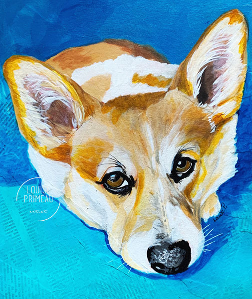 Corgi painted by Louise Primeau.