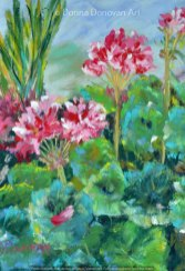 Pink Geranium by Donna Donovan, guest artist at Louise's ARTiculations