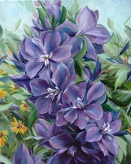 Delphinium by Alissa Kari Arts, guest artist at Louise's ARTiculations