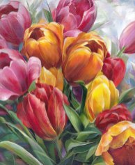Rainbow- Tulips by Alissa Kari Arts, guest artist at Louise's ARTiculations