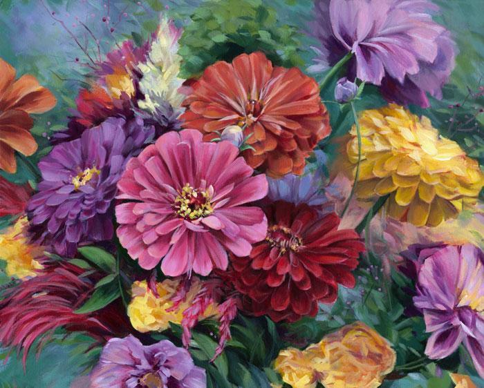 Zinnia Bouquet by Alissa Kari Arts, guest artist at Louise's ARTiculations