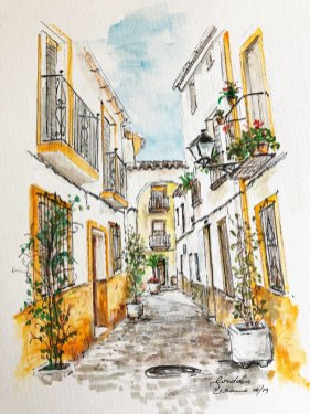Spanish street by Rosita Frick, guest artist at Louise's ARTiculations