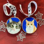 Boots and Hudson cat portraits on wood slices by Louise's ARTiculations