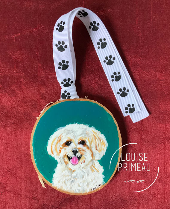 Wood slice pet portrait by Louise Primeau