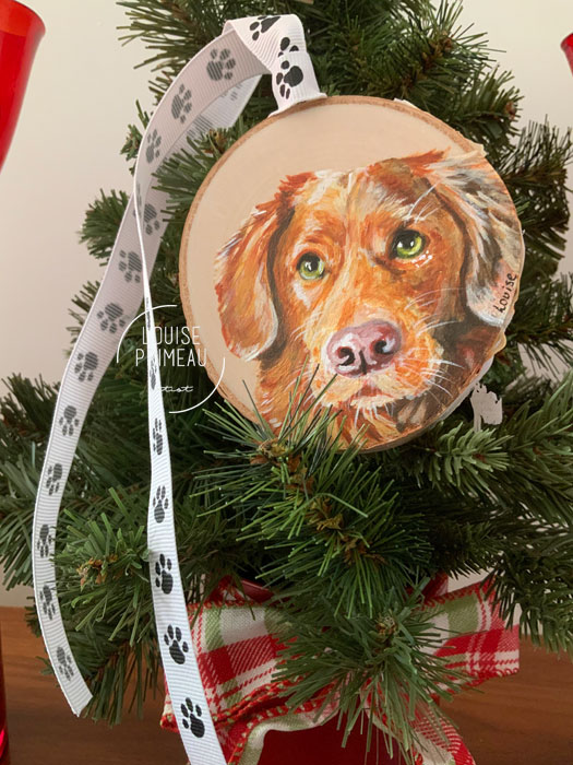 Digby on wood slice