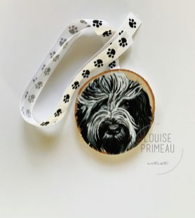 Dutch Sheepdog (Schapendoes) Lupin painted on wood slice by Louise's ARTiculations
