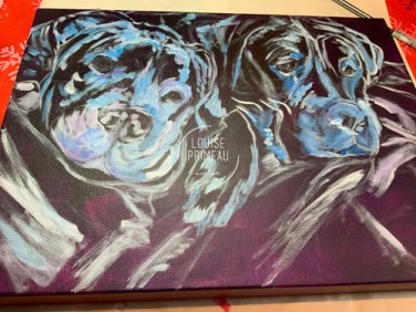 Tito and Luna in the early stages of pet painting process