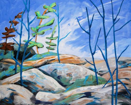Rocky Shoreline by Shirley Rose Cockburn, featured artist at Louise's ARTiculations