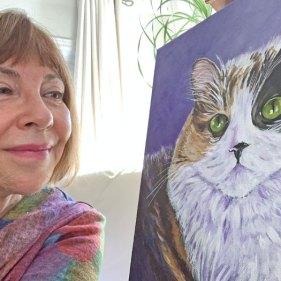 Louise Primeau, Ottawa pet portrait artist with one of her pet portraits, calico cat Serena.