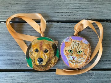 Max and Sully on wood slices by Ottawa artist, Louise Primeau