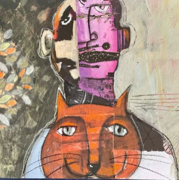 A Cat and his Human, by Rossana Russo, guest artist at Louise's ARTiculations