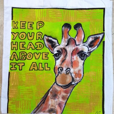 Painted giraffe on tote bag by Agnes McLaughlin