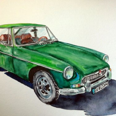Vintage car in watercolour by Agnes McLaughlin, featured artist at Louise's ARTiculations
