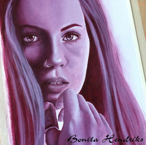 Lady in VIolet by Bonita Balster Hendriks, guest artist at Louise's ARTiculations.