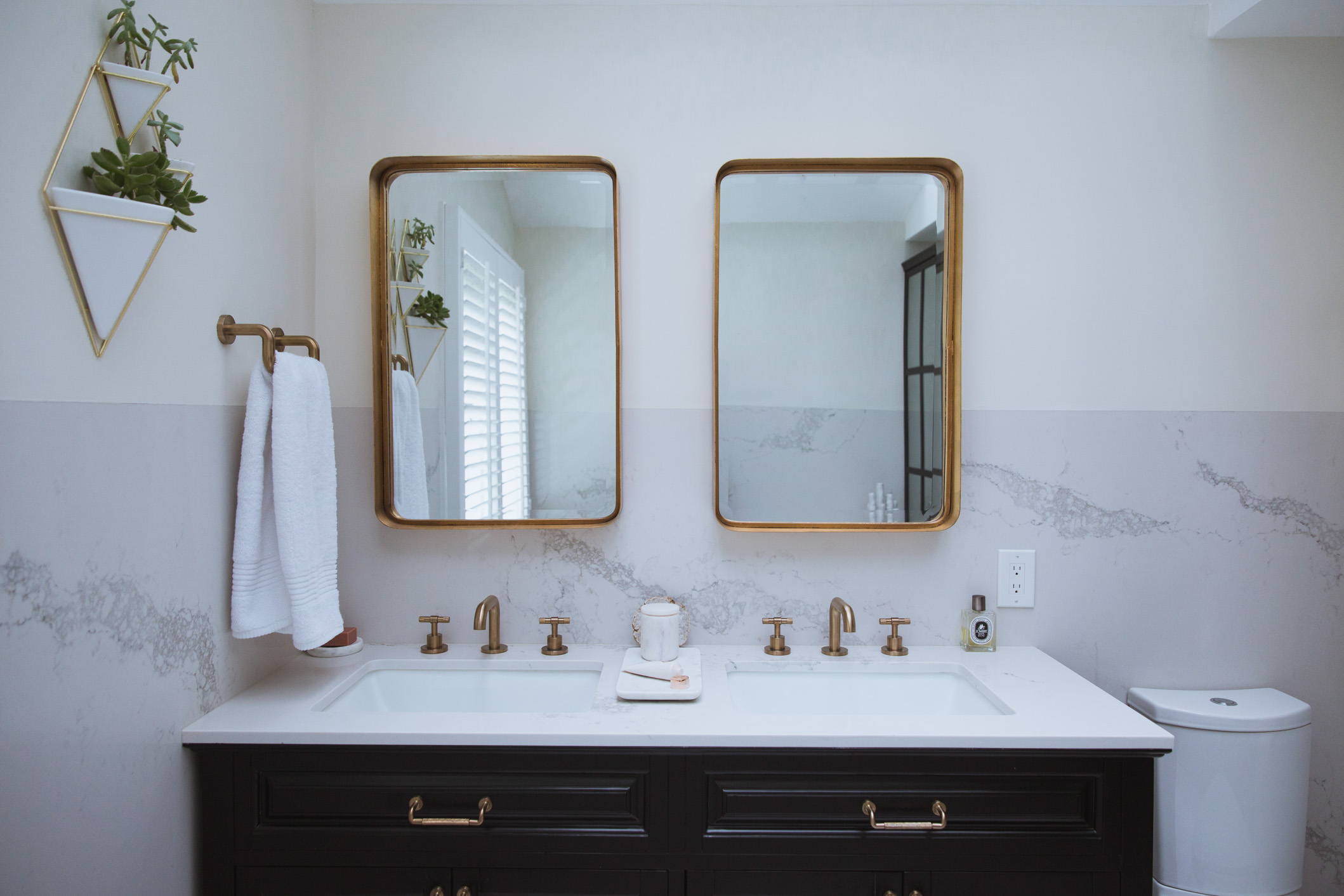 How To Warm Up Your Bathroom Chic Gold Accents  Front