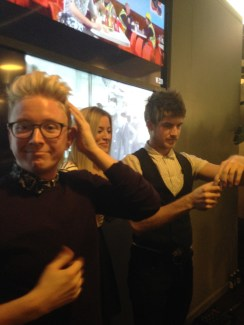 Having a great time at VANITY FAIR event with Tyler Oakley, iJustine, and Joey Graceffa