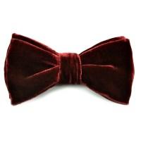 Deep Burgundy Velvet Bow Tie | LOUISE & ZAID