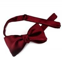 Deep Red Silk Satin Bow Tie