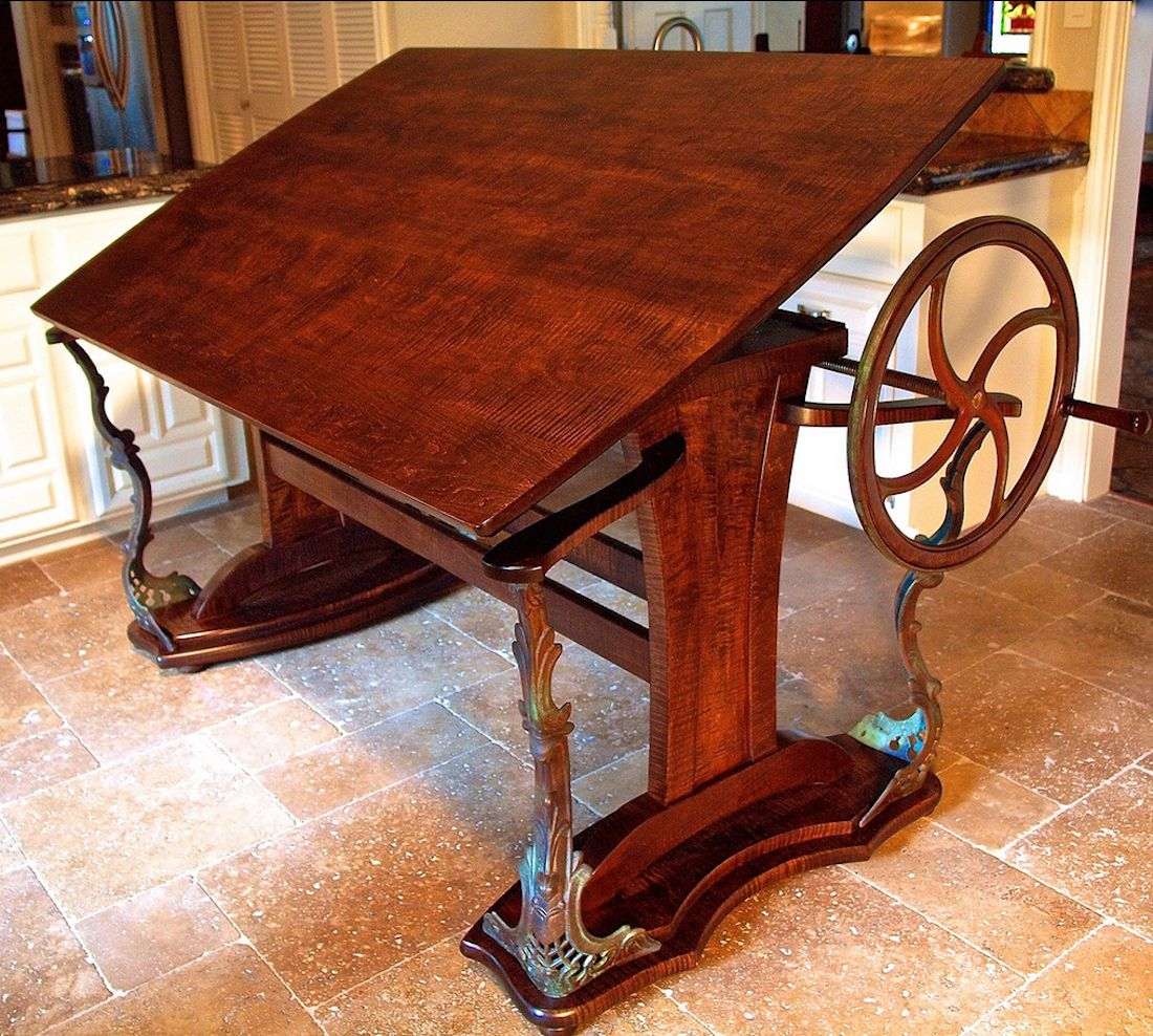 Custom Handmade Steampunk Style Drafting Table