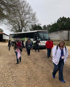 Farm Bureau members from the American Farm Bureau Federation 100th Annual Convention & IDEAg Trade Show arrive at Clear Creek Stud in Folsom for a farm tour.