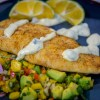 pan-fried sheepshead filet with salsa