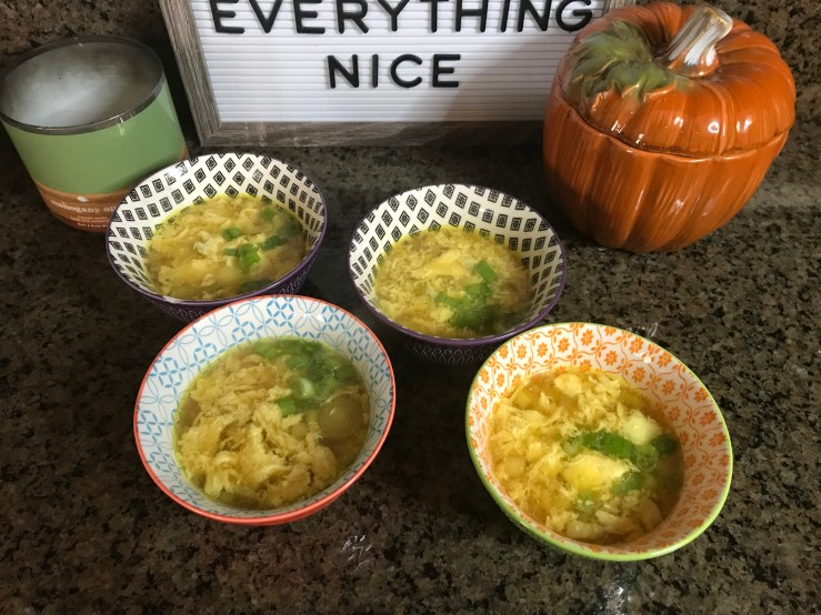 Ready to serve - egg drop soup with pork belly