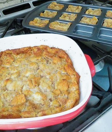 A pan of Bread Pudding.