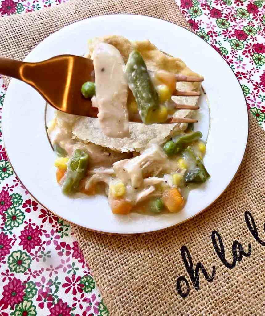 Chicken Pot Pie on a fork.
