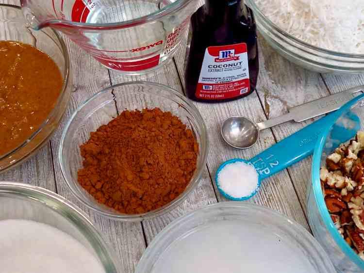 Ingredients for German Chocolate No-Bake Cookies.