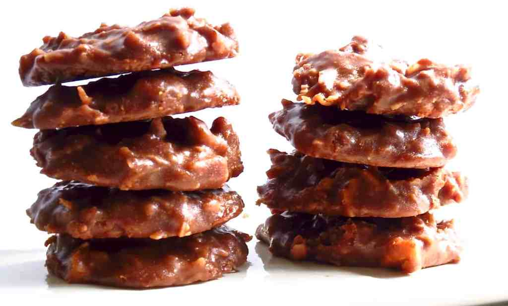 Stacks of German Chocolate No-Bakes on a white plate./