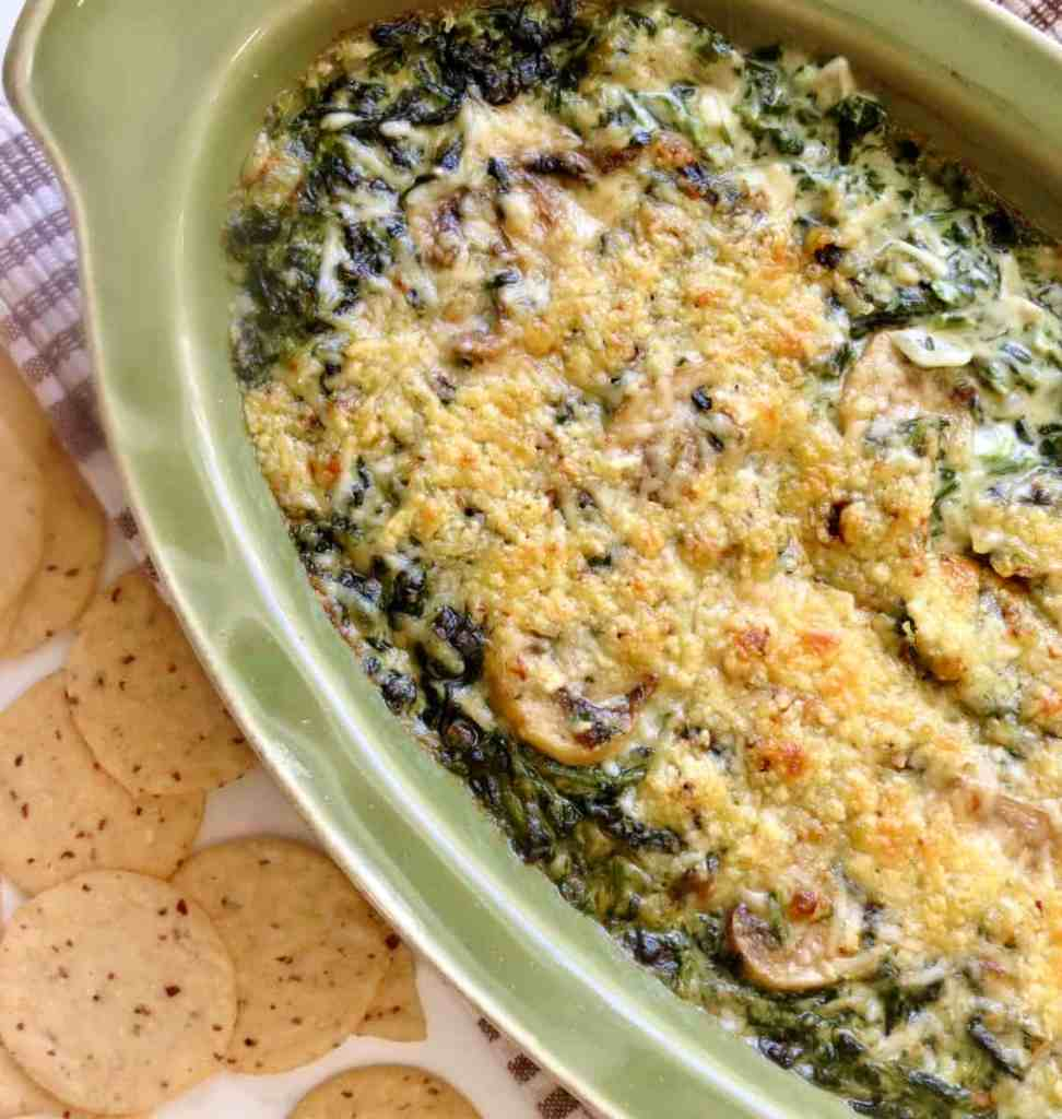 Casserole with browned Cream Spinach With Mushrooms.