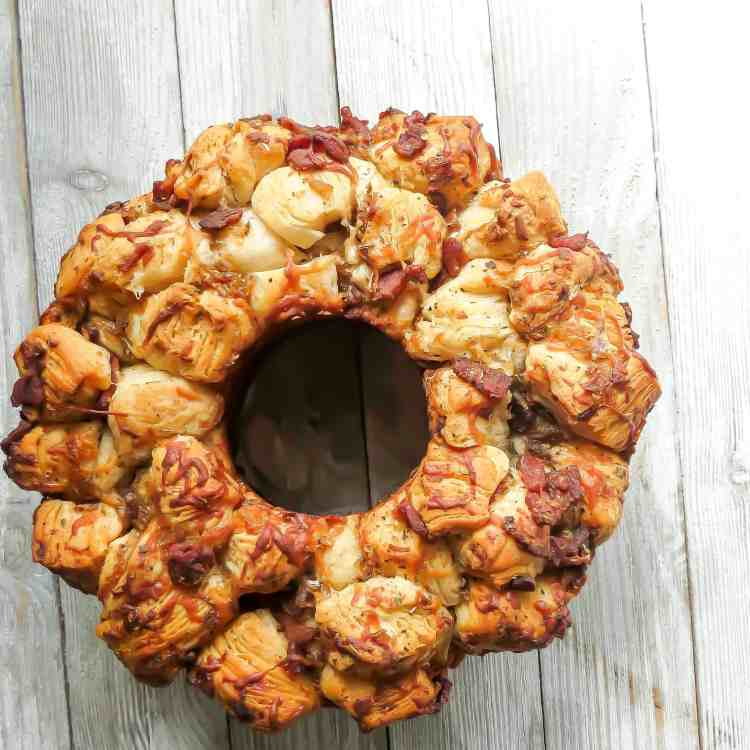 A bundt loaf of Savory Monkey Bread, Two Ways.