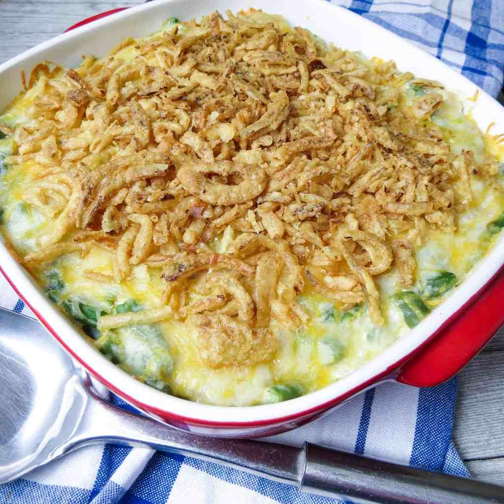 A baked green bean casserole dish.
