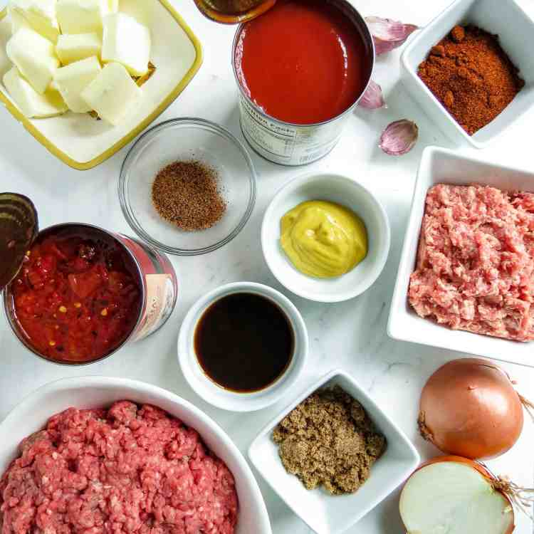 Ingredients for hot dog chili in the Instant Pot.