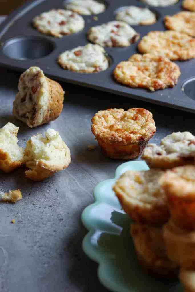 Mini-muffins, 3 way on a gray countertop.