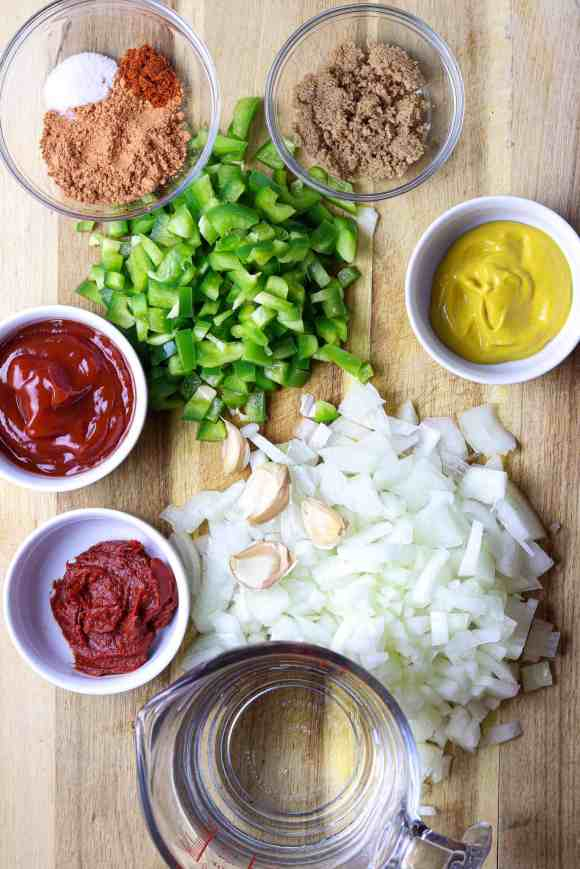 Ingredients for Homemade Sloppy Joes made from scratch.