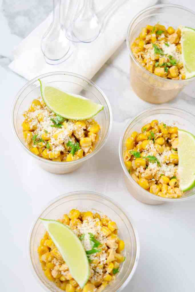 Cups of Mexican Street Corn.
